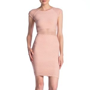bebe Textured Mesh Waist Bodycon Dress L Blush NWT